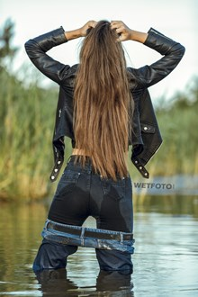 #462 - Double Jeans Wetlook with Completely Wet Girl swimming in the Lake