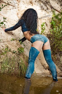 #502 - Soaking Wet Girl in Ripped Jeans Swims in the Pond