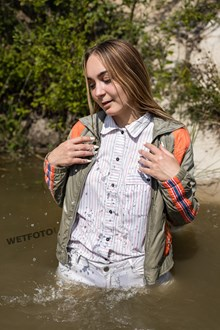 #515 - Fully Clothed Wetlook Photo Session in the Pond