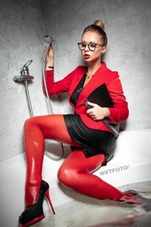 #523 - Hot Business Woman Takes a Bath in Red Suit, Pantyhose, Shoes
