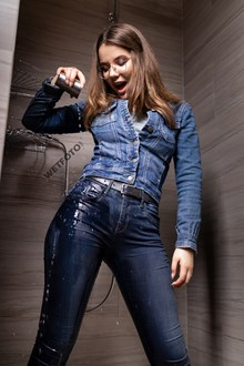 #531 - The Best Wetlook in Jeans Clothes with Girl without Bra in the Bath