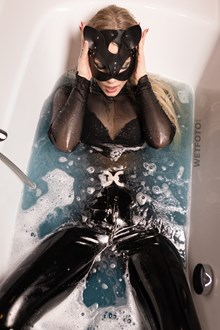 #537 - Hot Blonde Girl Gets Wet and Takes a Shower in Black Vinyl Leggings, Bodysuit, Cat Mask