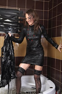#54 - Wetlook by Sexy Girl in Little Black Dress, Leather Jacket, Stockings and High Heels