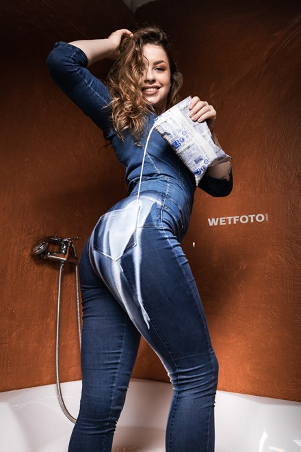 wetfoto girl wet skinny denim overall jumpsuit milk bath