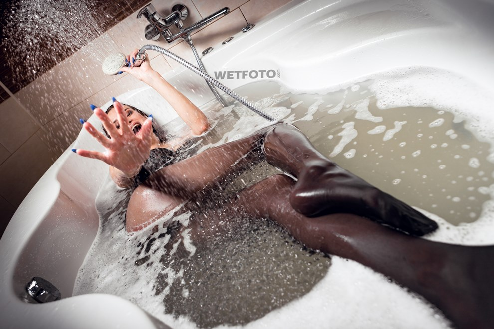 wetlook girl black nylons bodysuit takes shower