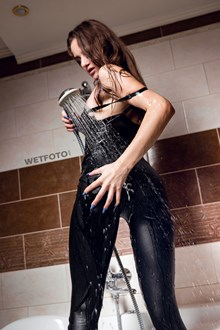 #554 - Beautiful Girl in Leggings, Black Pantyhose, Bodysuit  Takes a Shower and Get Soaking Wet