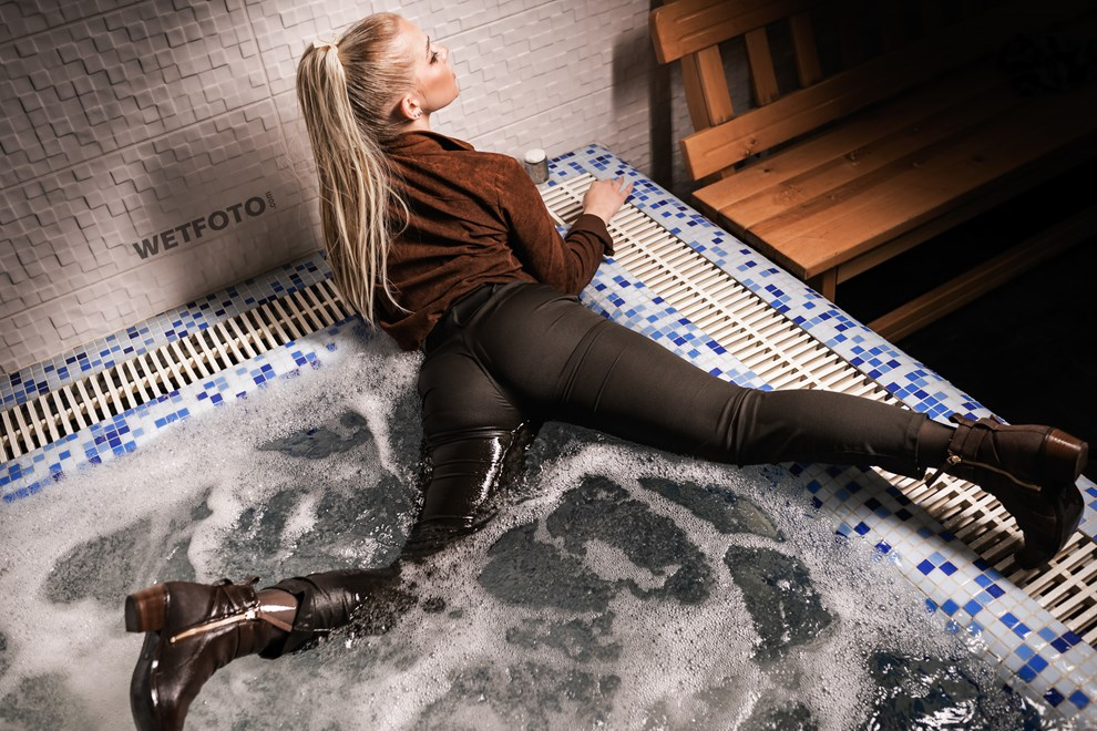 wetfoto blonde girl tight pants shoes corduroy shirt get wet pool