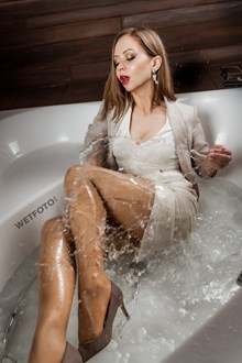 #591 - Hot Woman Takes a Bath and Gets Wet in Business Suit with Pantyhose and Shoes