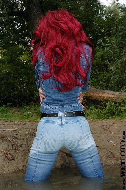 wet girl get wet wet hair fully clothed jacket denim jeans leather boots vest blouse lake