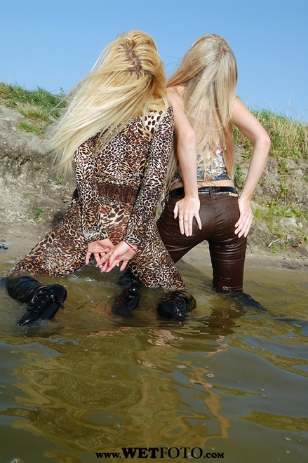 wet girl get wet fully clothed bodysuit top jeans leather boots lake