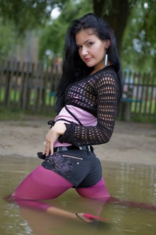 #71 - Wetlook by Bright Girl in Boleros, Denim Shorts, Pink Tights and High Heels