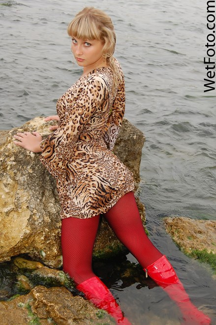 #78 - Wetlook by Hot Woman in Sexy Dress, Red Stockings and Patent Leather boots