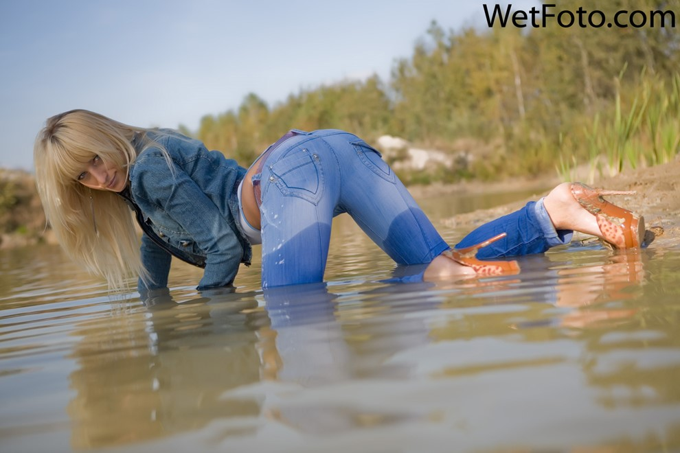 wet girl get wet fully clothed jacket jeans denim bodysuit shoes lake