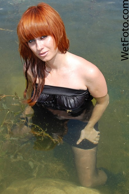 wet woman get wet wet hair fully clothed dress stockings boots leather heels lake