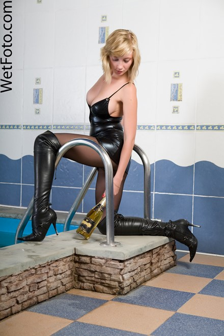 wet girl get wet wet hair fully clothed leather stockings dress jackboots jacuzzi