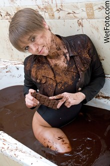 #95 - Chocolate Wetlook by Sweet Girl in Jacket, Swimsuit and High Heels in Bath