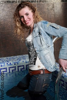 #97 - Wetlook by Curly Girl in Jacket, Tight Jeans, Tights and Shoes in Jacuzzi